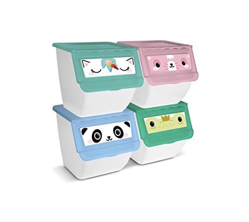 TIENDA EURASIA® Organizador de Juguetes Apilable para el hogar. Pack de 4 Contenedores de Plastico para Juguetes de 36L