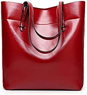 Fashion Red Leather Shoulder Bag For Women Trendy Elegant Tote Bag European Style Ladies HandBag