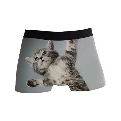 JIRT Boxershorts der Männer niedliche Kätzchen Tier Katze Unterwäsche männlich atmungsaktiv Stretch Badehose Bulge Pouch weiche Unterhose