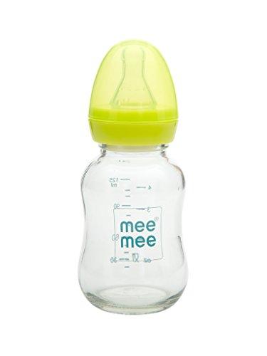 Mee Mee Premium Glass Feeding Bottle | BPA-Free | Anti-Colic Teat (120 ml, Green)