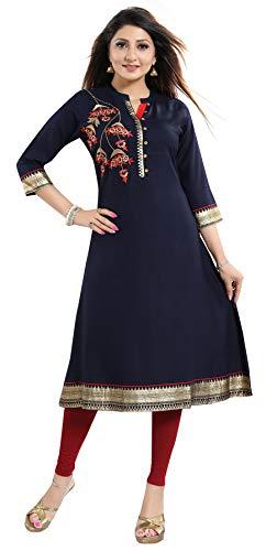 Unifiedclothes Damen Tunika, indisches Ethno-Top aus Baumwolle, bedruckt, Kurta-Shirt, MM230 Gr. 38, blau