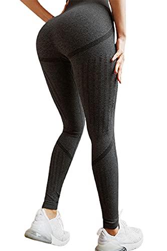 Voqeen Pantalones de Mallas de Yoga de Cintura Alta leggings de Yoga Mujeres Control de barriga Pantalón Deportivo, Elásticos Sin Costuras Fitnes, Malla para Running, Yoga y Ejercicio