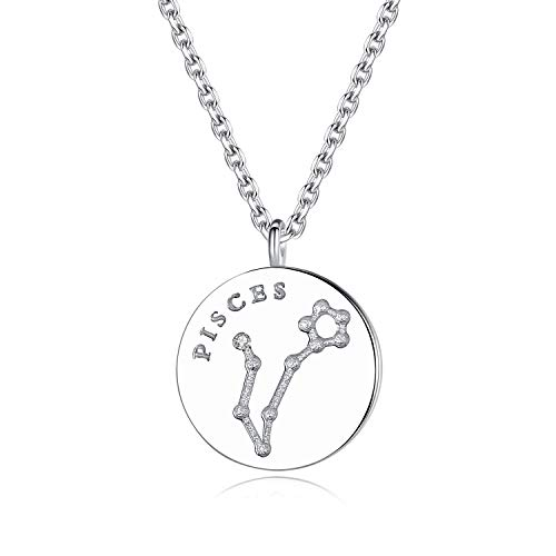 VIKI LYNN Women Girls 925 Sterling Silver CZ Pisces Zodiac Star Sign Necklace