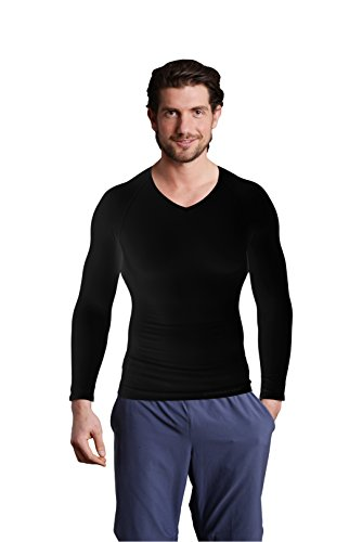 Strammer Max V Neck Longsleeve Funktionsshirt, atmungsaktives Compression Shirt (hochwertiges Meryl Skinlife Gewebe) Farbe: schwarz, (XL)