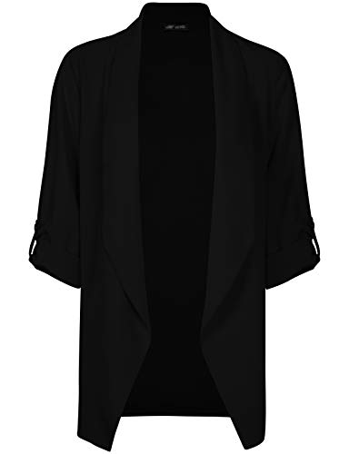 Michel Womens Open Front Blazer Casual 3/4 Roll UP Sleeve Cardigan Blazer Black Large