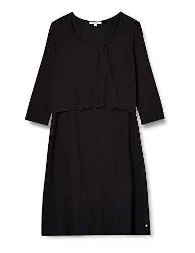 ESPRIT Maternity Damen Dress Nursing 3/4 sl Kleid, Schwarz (Black 001), 36 (Herstellergröße: S)