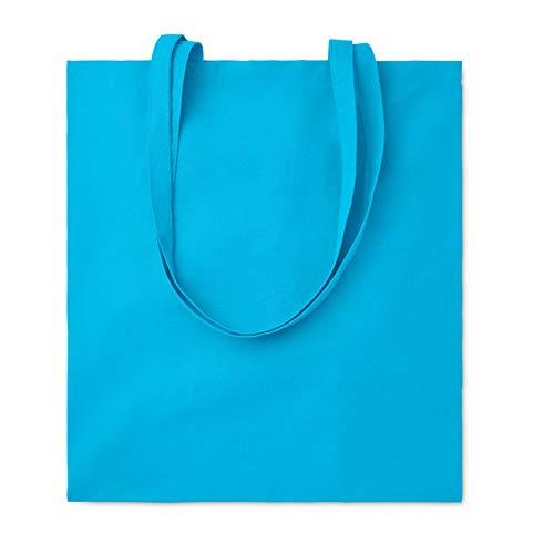 Publiclick® Lote 25 unidades Bolsa compra algodón 140gsm COTT turquesa,Medidas 38X42 CM,Bolsa de la compra de color en algodón con asas largas. 140 gr/m².