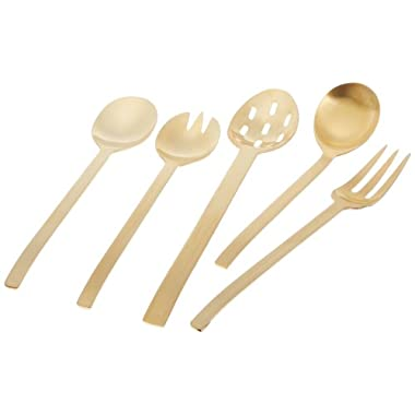Herdmar Spiga 5-Piece Serving Set, Gold Matte Finish