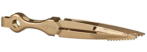 FlyCol Shisha Zange Dagger   Für Kohlen und Tabak   Ideal zum Kopfbau   Zubehör Kohlenzange Tabakzange Shishazange Kopf Feder Schlauch Kohle (Gold)