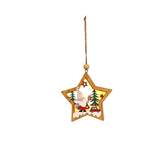 QBQCBB Santa Claus Wooden Luminous Pendant Christmas Tree Party Ornaments Five-Pointed Star Hang Pendant (White hat)