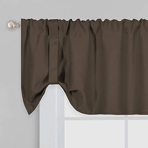Brown Blackout Tie Up Shade Curtain Valance 18 Inch Long Room Darkening Adjustable Valance Window Treatments Rod Pocket Tie-up Valances Curtain for Living Room Kids Room 52X18 Inch 1Panel