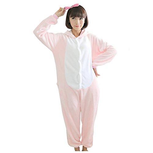 Yimidear® Unisex Cálido Pijama Animales Traje Disfraz Cosplay Ropa de dormir Kigurumi Onesie Halloween y Navidad (XL, Rosa Cerdo)