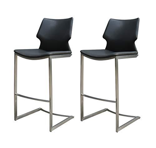 Meubletmoi – Set di 2 sedie da Bar in Similpelle Nera e Base in Metallo Opaco – Premium Collection & Design Contemporaneo – Totem