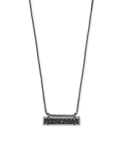 Kendra Scott Leanor Short Pendant Necklace for Women, Dainty Fashion Jewelry, Gunmetal Plated, Black Drusy
