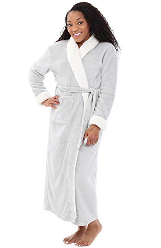 Alexander Del Rossa Women's Warm Fleece Robe, Long Plush Bathrobe, Large XL Light Grey with Shepra Contrast (A0274LGRXL)