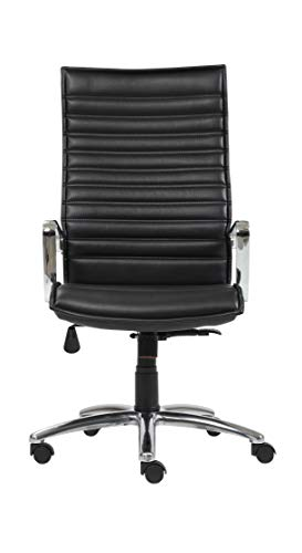 Furni24 Ergonomischer Bürostuhl, höhenverstellbarer Drehstuhl, Chefsessel, robust und langlebig, Bürodrehstuhl Hochlener Burano schwarz