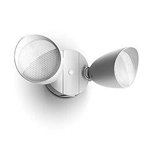 LUTEC 6222W 2500 Lumen 32 Watt 28 LED Dual-Head Floodlight Outdoor, Full Metal Design, Waterproof Exterior Security Wall Light for Patio, Garden, Yard-White