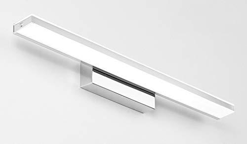 62 x 7,5 cm Moderna lámpara LED para espejo de baño, diseño de luz de espejo de acero inoxidable claro lámpara de espejo acrílico lámpara de pared IP 44 cromo 14 W 980 LM