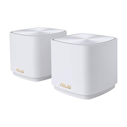 ASUS ZenWifi AX Mini (XD4) - Pack de 2 Sistemas de Red mallada Wi-Fi 6 AX1800, (Cubre hasta 446 m2, instalación Sencilla, Funciones de Seguridad y Controles parentales), Color Blanco