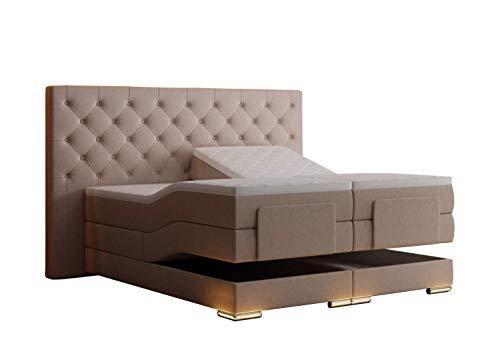 HG Royal Estates GmbH Mailand Chesterfield Boxspringbett elektrisch Beige Stoff Größe 160 x 200 cm