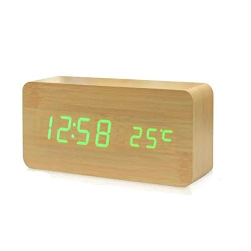 Amiispe Reloj Despertador Reloj Despertador LED Digital Madera, Reloj Despertador Digital Reloj de Mesa con función de repetición/Fecha/Temperatura y Humedad
