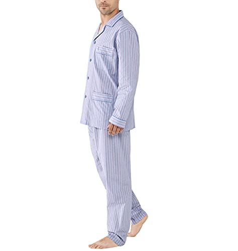 El Búho Nocturno - Pijama Hombre Largo Solapa Popelín Rayas Granate 100% algodón Talla 4 (L)