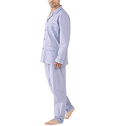 El Búho Nocturno - Pijama Hombre Largo Solapa Popelín Rayas Granate 100% algodón Talla 7 (XXXL)