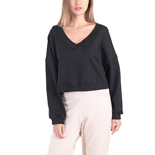 Germinate Cropped Sudaderas con Cuello en V Mujer Verano Algodón Vintage Negro Corto Pullover Jersey Sweatshirt Crop Top Oversize (Negro, Large)