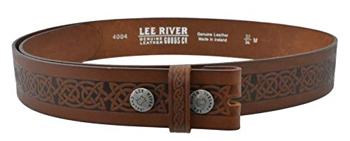 Lee River Goods Co - Men's Brown Celtic Leather Belt Setanta BR - X-Large (40-42in or 102-107cm), (Buckle not Included)