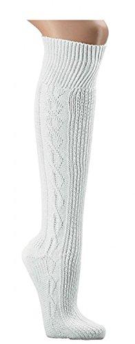 Knieb&hosen- Strümpfe uni-reinweiß gemustert Trachtenstrümpfe Socken Ch-686 (35-38)