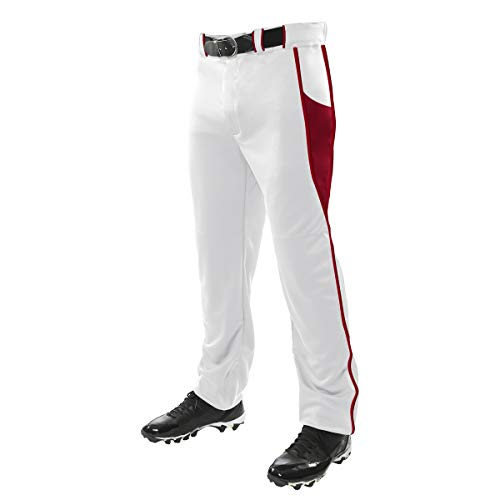 Champro Herren Baseballhose Triple Crown, Unisex-Erwachsene Herren, BP92UAWSCM, Weiss, Scarlet, Medium