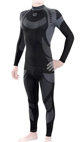 Sesto Senso® Herren Funktionsunterwäsche Set Skiunterwäsche Schnelltrocknend Langarmes Unterhemd Funktionsshirt und Lange Unterhose Funktionsleggings Thermoaktiv (XXL, Grau Set)