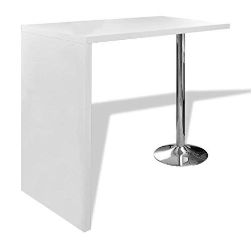 vidaXL Tavolo da Bar in MDF con 1 Gamba Acciaio Bianco Lucido Tavolino Cucina