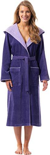 Morgenstern Damen Bademantel Baumwolle mit Kapuze in Lila Sauna Bademantel Frauen wadenlang Hausmantel Baumwolle Größe XL Leonie
