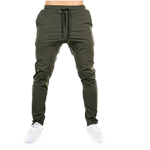 iLXHD Men Sweatpants Autumn Slacks Casual Elastic Sportwear Baggy Jogging Trousers Sport pants(Green,L)