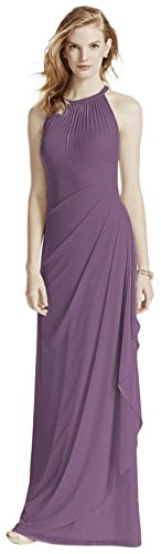 David's Bridal Long Mesh Bridesmaid Dress with Illusion Halter Neckline Style F15662, Wisteria, 24