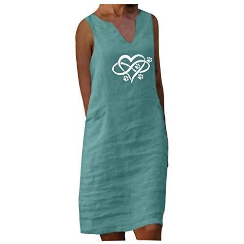 Dasongff Vestido de lino para mujer con cuello en V, retro, elegante, para la playa, estilo vintage, holgado, sin mangas, caftán, blusa, monocolor, bohemio, túnica, para el tiempo libre.