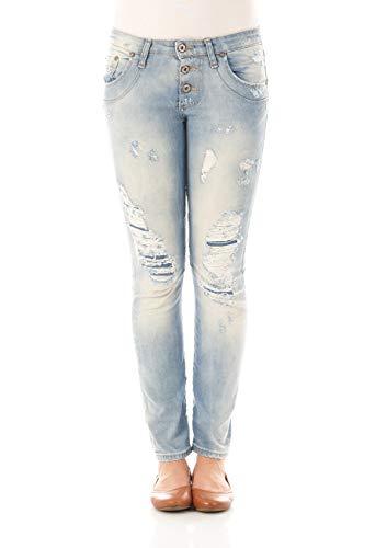 Please Damen Jeans P08I - LAVPE16-54 - Straight Fit - Blau - Light Blue Denim XXS XS S M L XL 98% Baumwolle Stretchjeans Damenjeans, Größe:XS, Farbvariante:Light Blue Denim (0021)