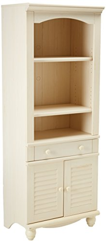 Sauder 158082 Harbor View Library with Doors, Antiqued White