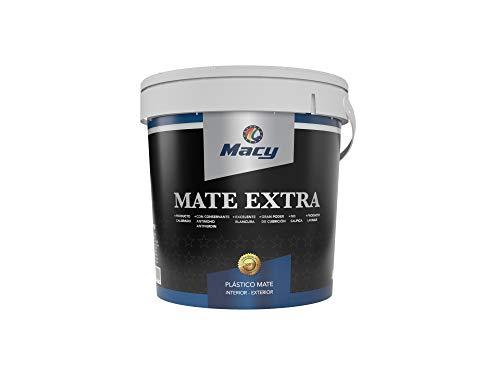 Macy Pintura Plástica Mate Extra para Interior y Exterior con Conservante Antimoho y Certificado CE.750 Mililitros. Color Blanco