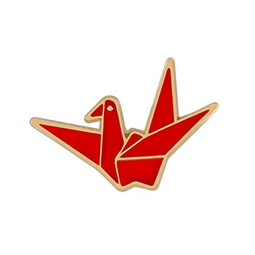 Broche de pasador de grúa de papel Creativo Origami Animales Solapa Pines de esmalte Insignia de hebilla de dibujos animados Regalo de la suerte-Corazón, China