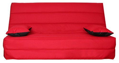 CANAPES TISSUS Naples Banquette Canapé-Lit, Polyester, Rouge, 193 x 95 x 101 cm