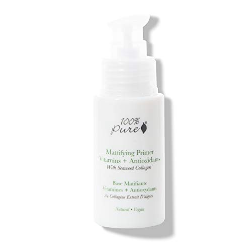 100% PURE Mattifying Primer, 1 oz, Silicone-Free Makeup Primer, Oil-Free, Shine-Free, For Flawless, Long-Lasting Foundation, Poreless Finish, Face Primer that hydrates