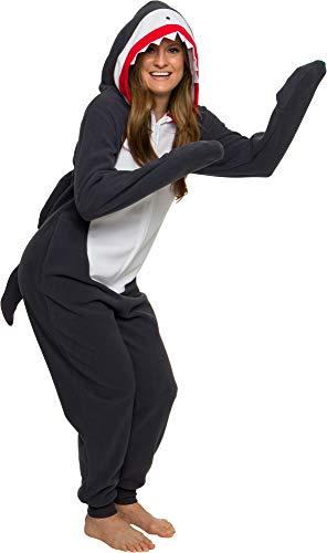 Silver Lilly Slim-Haifisch-Kostüm – Erwachsene Einteiler Cosplay Tier-Pyjama - grau - X-Large