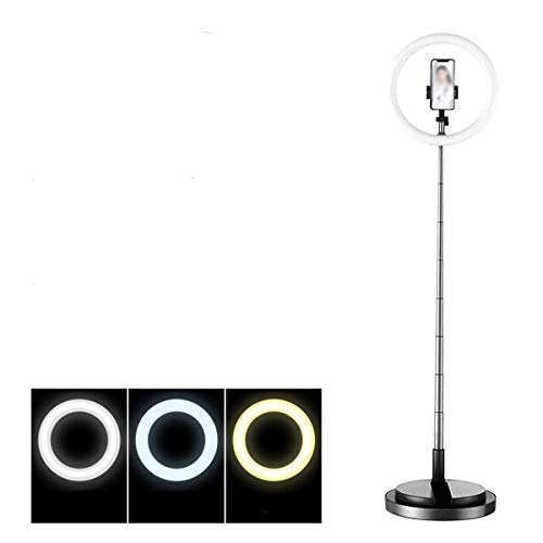 RuiXia WLT Anillo de luz LED Selfie en Pulgadas, Anillo de luz de Belleza Regulable y Estirable con Soporte para teléfono móvil para fotografía de Maquillaje en Vivo, para Android, Blanco