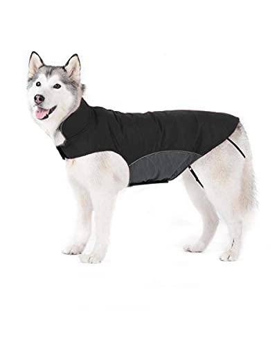 Bwiv Abrigos para Perros de Invierno Chaqueta Impermeable Forrado de Polar con Apertura para Correa Negro 4XL