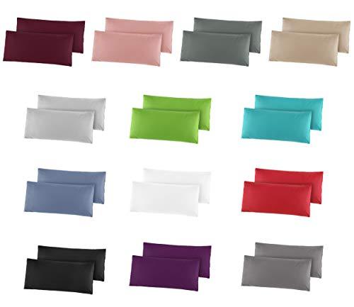 2er Pack Baumwolle Renforcé Kissenbezug, Kissenbezüge, Kissenhüllen 40x80 cm in 14 modernen Farben Stahlgrau