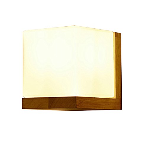 Lampade Da Parete In Legno Di Rovere Moderno Stile Giapponese Cubo Zucchero Paralume Camera Da Letto Comodino Applique Da Parete Casa Riparo 110-220 V