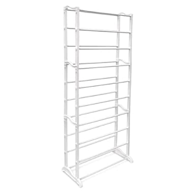 Relaxdays Shoe Rack Shoe Stand Narrow Shoe Storage For 30 Pairs Of Shoes, 139 x 52 x 24.5 cm White Plastic And Metal Sturdy and Space-Saving Storage Solution