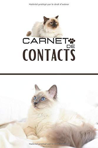 Carnet de contacts: Format moyen  carnet de contacts par section  répertoire téléphonique original  carnet d'adresses et de courriels  sauvegarde informatique  carnet chat sacré de birmanie